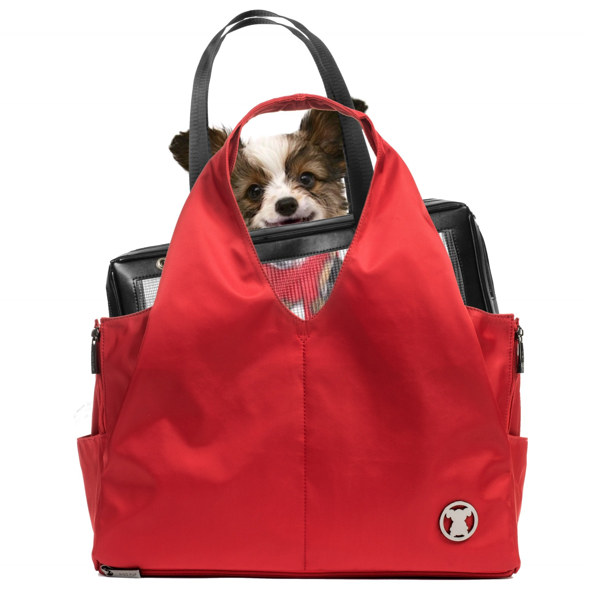 Miso Pup Sporty Red Interchangeable Airline Approved Pet Carrier Combo with Pockets for Small Dogs (Pet Carrier Base & Shell Tote) by Miso Pup
