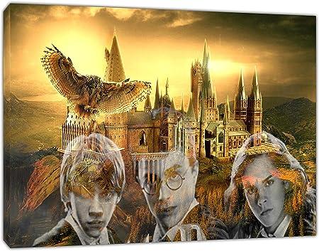 Todo para el streamer: Lienzo enmarcado de la película Harry Potter para decoración del hogar, 40'' x 30'' inch( 102x 76 cm )-38mm depth