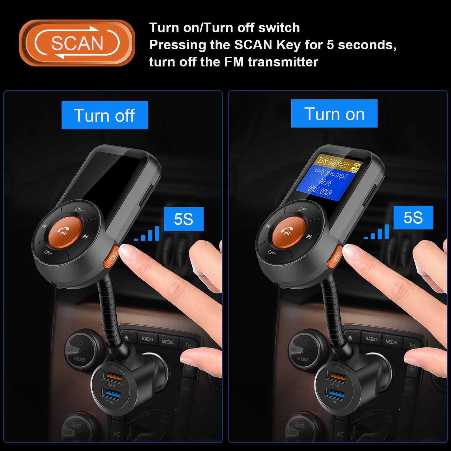 Hicarer (New Version) FM Transmitter, Radio Adapter Receiver Hands-free Wireless Car Adapter, Scan FM Transmitter, 1.4 Inch LCD Display, QC3.0/2.4A Dual USB Ports, Supports for Bluetooth/TF Card by Hicarer (Image #2)
