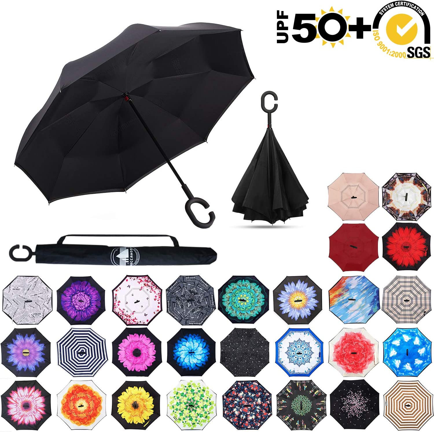 ABCCANOPY Inverted Umbrella,Double Layer Reverse Rain&Wind Teflon Repellent Umbrella for Car and Outdoor Use, Windproof UPF 50+ Big Straight Umbrella with C-Shaped Handle,Black