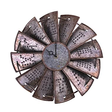NALAKUVARA Rustic Metal Windmill Wall Clock, Silent Non Ticking Wall Clocks Large Decorative - Vintage Antique Conuntry Farm Home Farmhouse Decor - Quality Quartz Battery Operated - 14.5 Inch