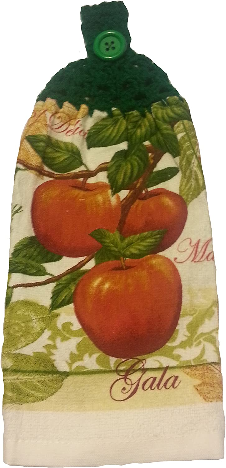 Designs from the Heart Doubled Handcrafted Green Crochet Topped Apple Theme Kitchen Towel