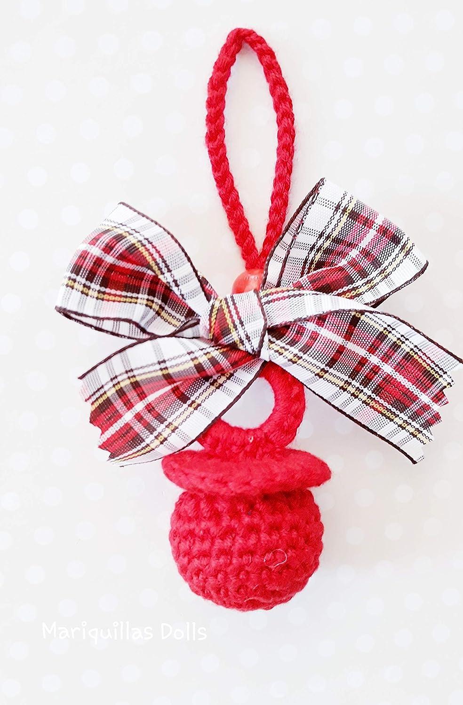 Chupete a crochet ROJO.
