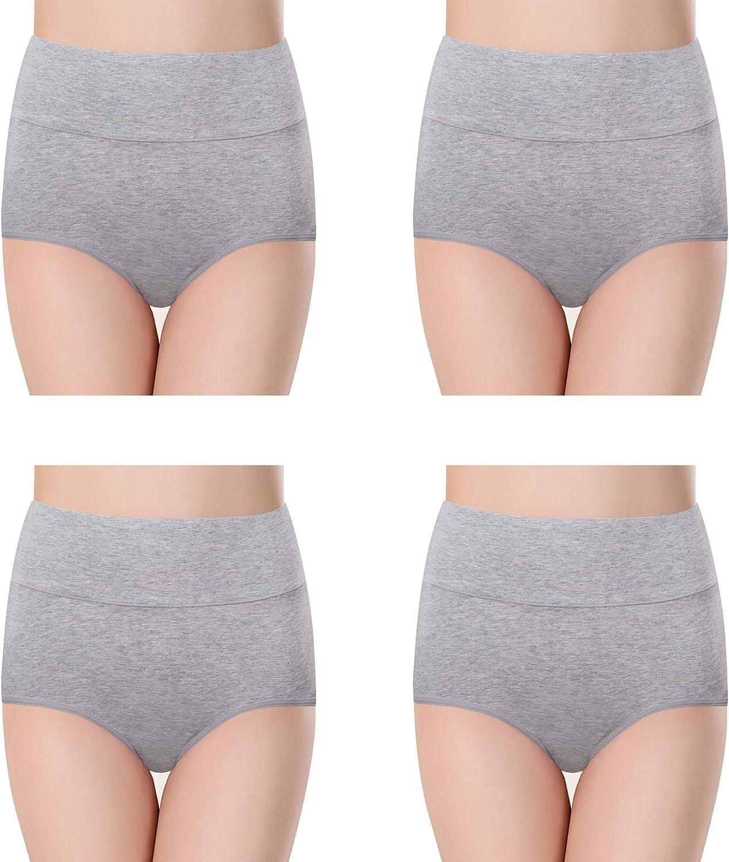 evaino Dream Women's Cotton Underwear High Waist Full Coverage Brief Comfortable Lady Panties 4 Packs