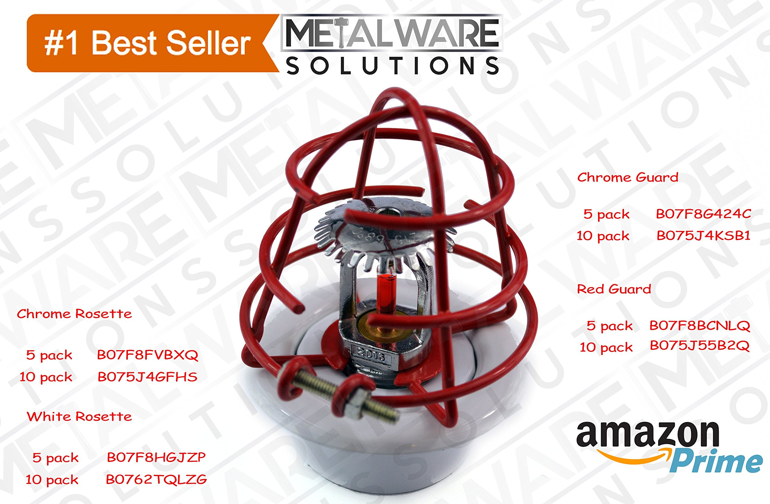 5 Pack - Metalware Solutions Red Fire Sprinkler Head Guard with Easy Screw Cover for 1/2'' IPS Head by Metalware Solutions (Image #4)