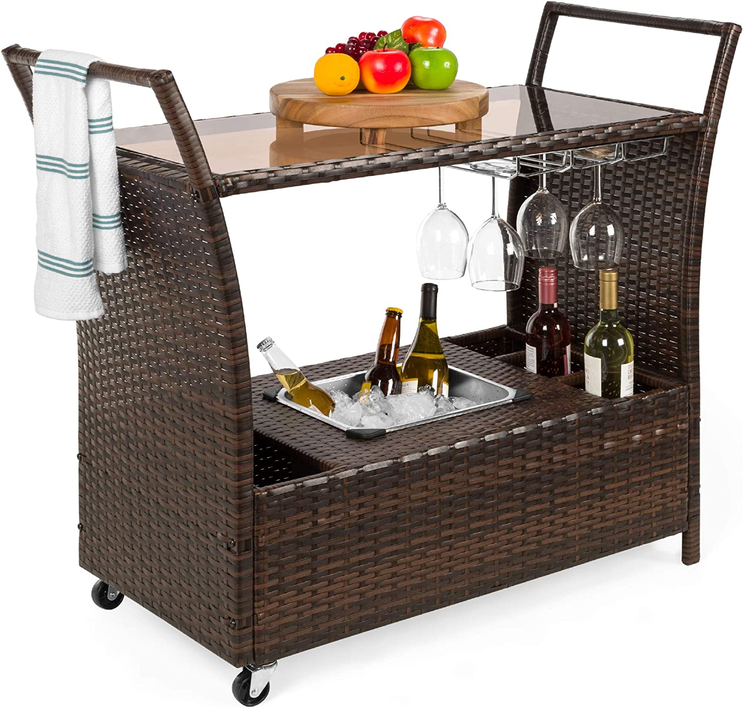 Amazon Com Best Choice Products Outdoor Rolling Wicker Bar Cart W Removable Ice Bucket Glass Countertop Wine Glass Holders Storage Compartments Brown Garden Outdoor
