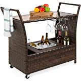 Best Choice Products Outdoor Rolling Wicker Bar Cart w/Removable Ice Bucket, Glass Countertop, Wine Glass Holders…