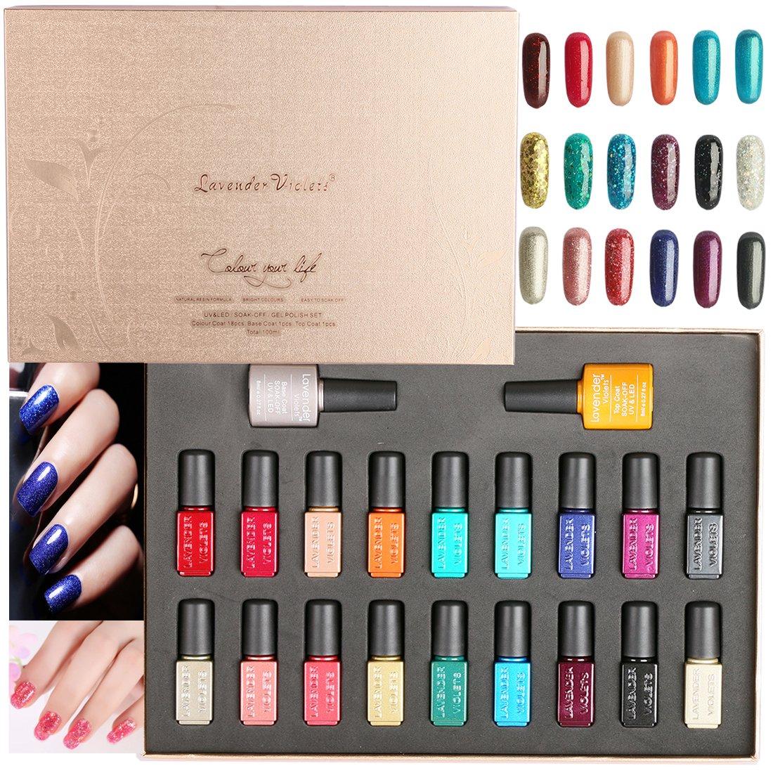 20 PCS Soak Off Glitter Gel Nagellack Lavendel Veilchen UV LED Gel ...