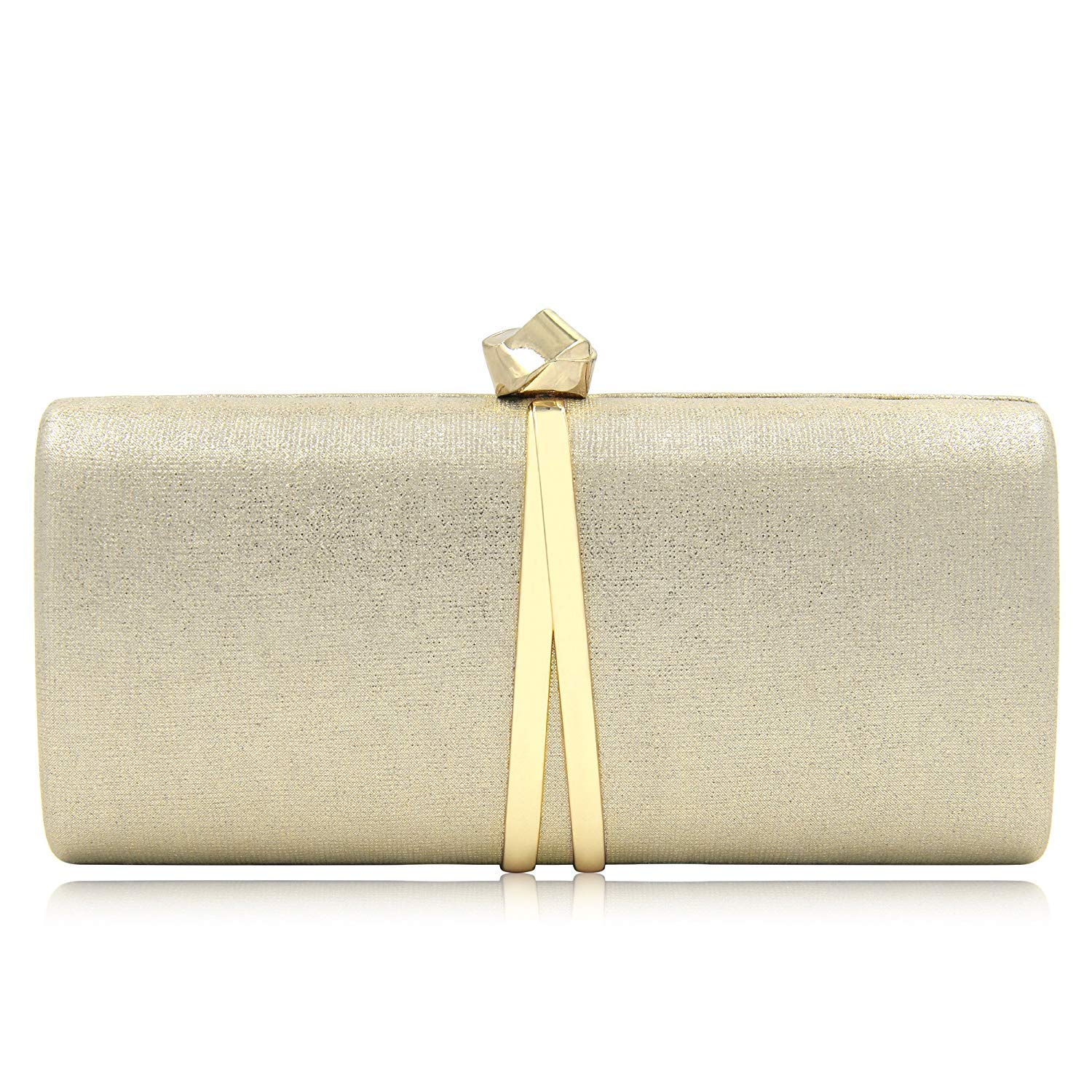 Women Clutches Solid Evening Bag Sparkling Metallic Clutch Purses For Wedding And Party (Gold)
