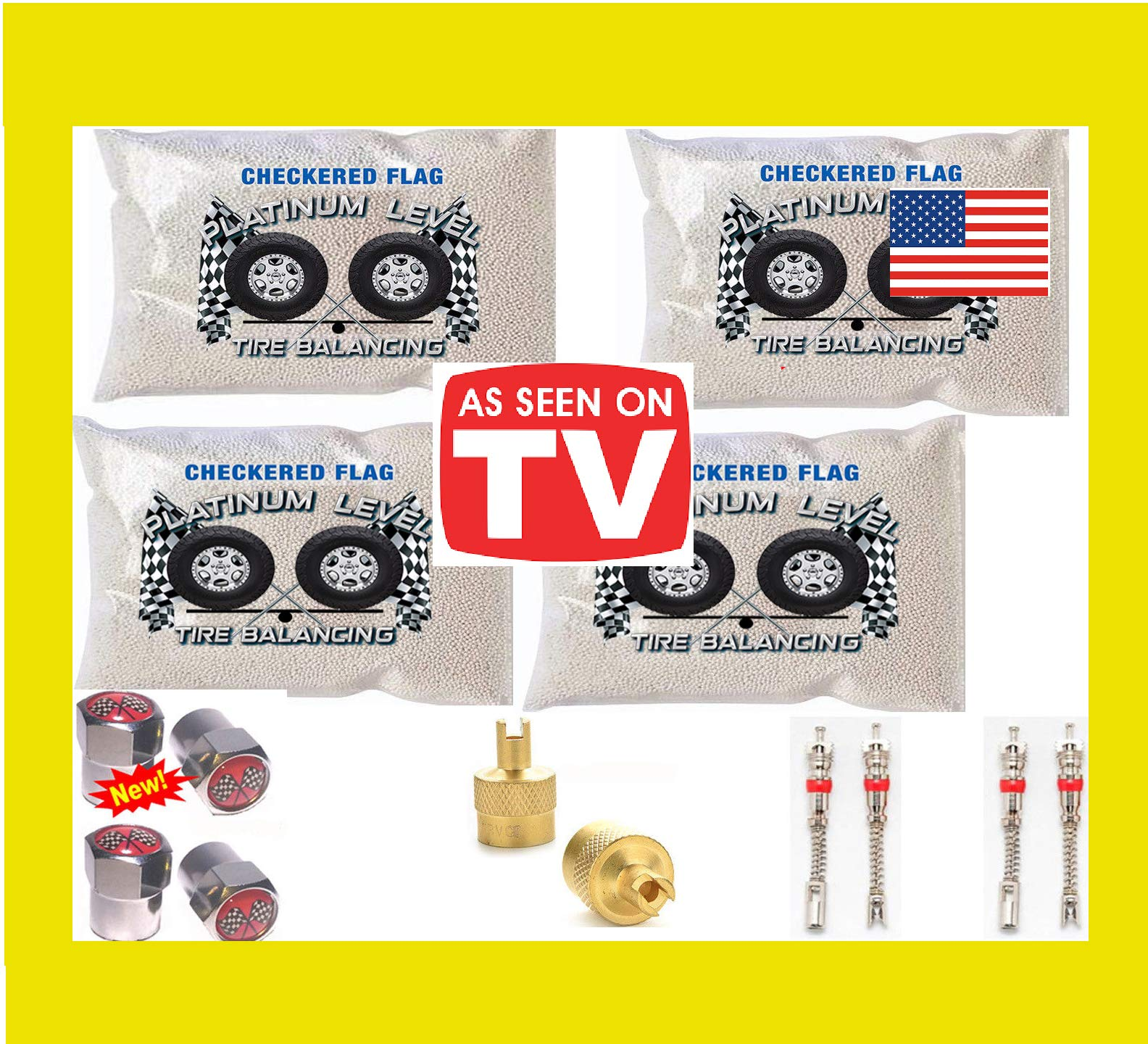 Tire Balancing Beads 4-6oz Bags, 24 Ounce Tire Balancing Beads Kit, Filtered Valve Cores, Chrome Caps Included with DIY Tire Beads by Checkered Flag Tire Beads