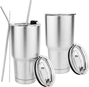 Homeries Double Wall Stainless Steel Tumbler (Pack of 2) with Transparent Lid – Vacuum Insulated Travel Mug Cups for Ice Drink, Hot Beverage – Drinking Straw & Cleaning Brush Included (30 OZ)