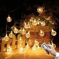 Luzes de corda Globo Luzes de fada a bateria Lâmpada 100 LED com controle remoto Luzes decorativas suspensas ao ar livre…