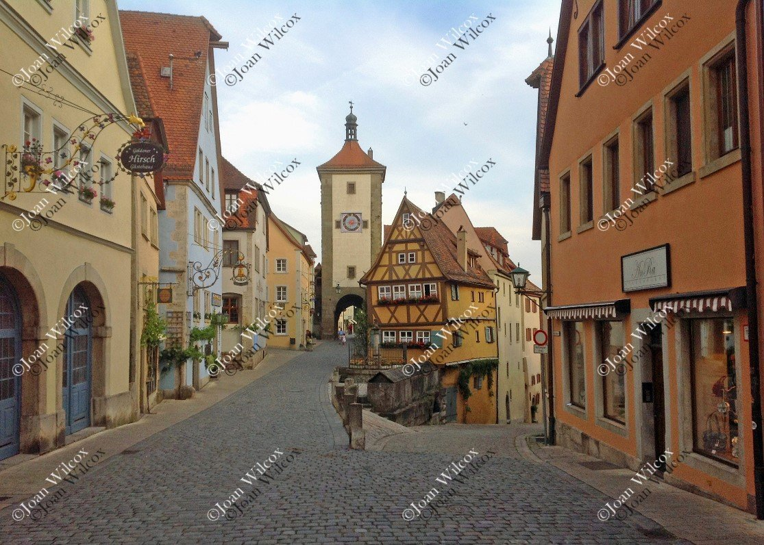 City Gate and Clock in Scenic Spring Summer Rothenburg, Germany Europe Architecture Window Boxes Original Fine Art Photography Wall Art Photo Print