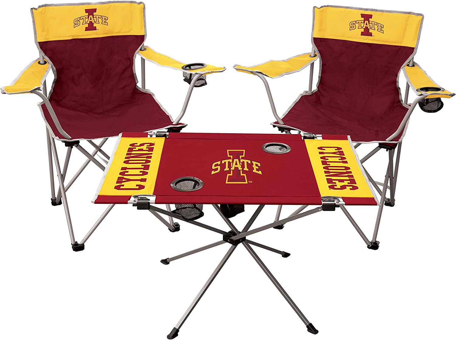 Includes 2 Chairs /& 1 Table RAWLINGS NCAA 3-Piece Tailgate Kit All Team Options