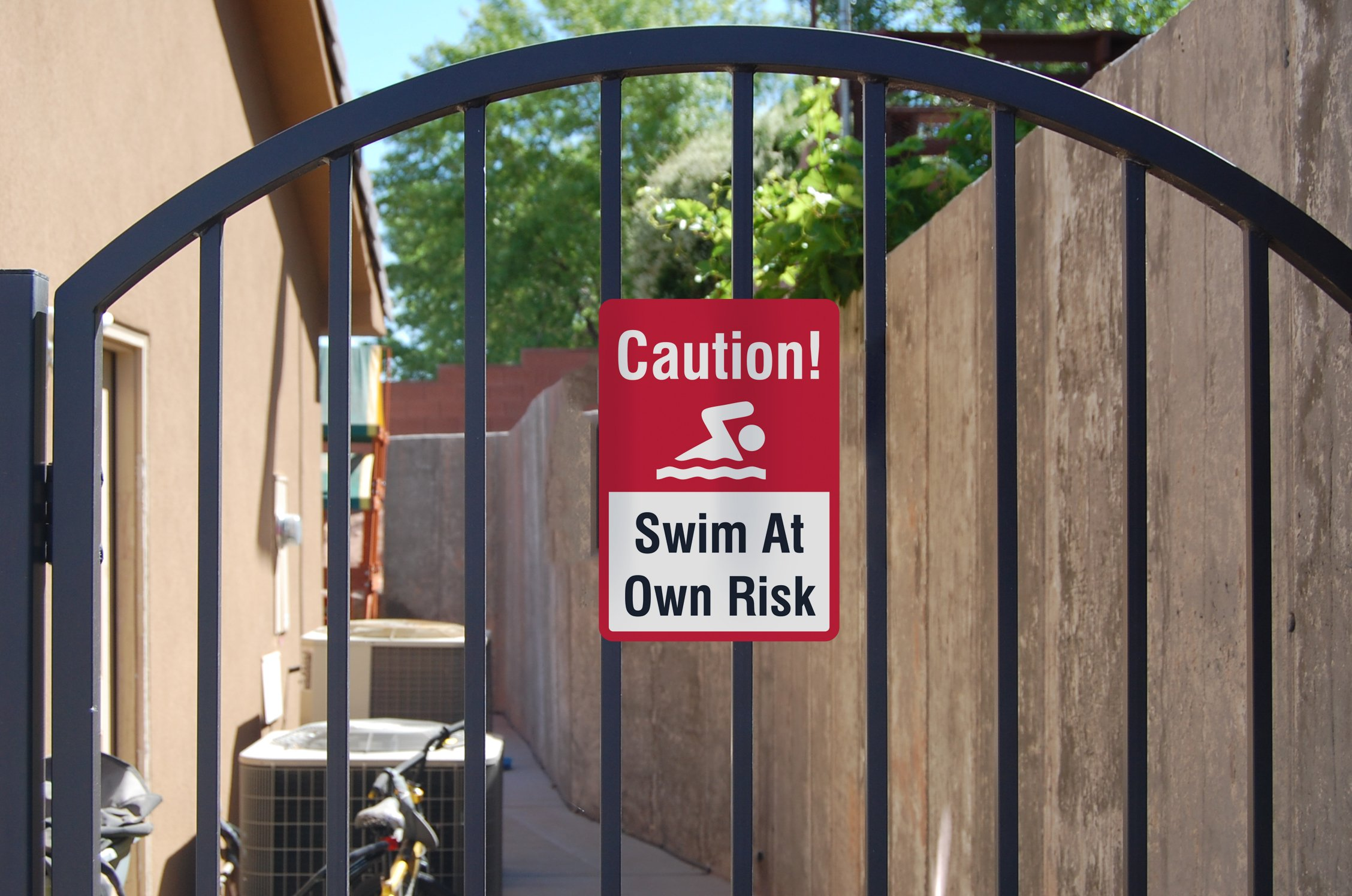 Swim at Own Risk Sign - Swimming Pool Warning Water Signs - 2 Pack, 12x18 by iCandy Combat