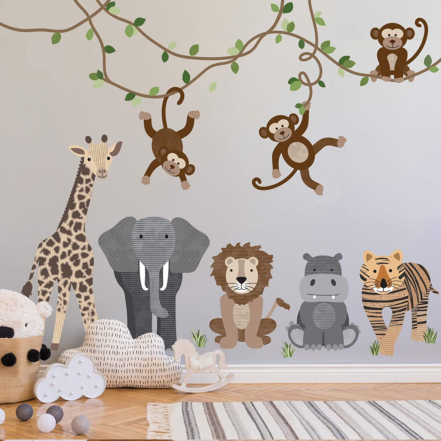 Jungle Animals Vinyl Wall Decals Nursery Jungle Stickers Jungle Animal Decals for Children with Monkey Lion Beards and Alligator
