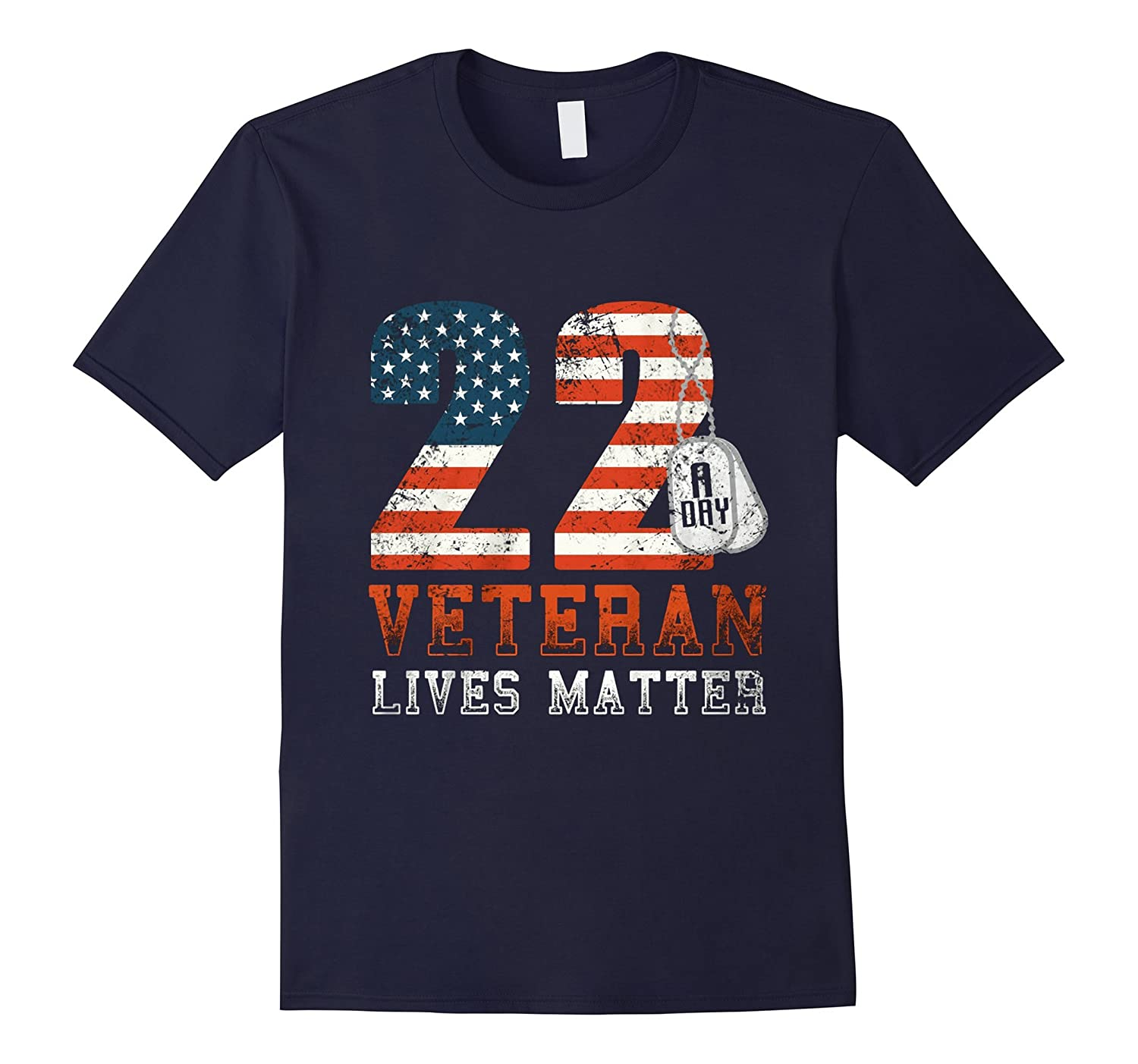 22 Push Up Challenge Veteran Lives Matter T Shirt-RT