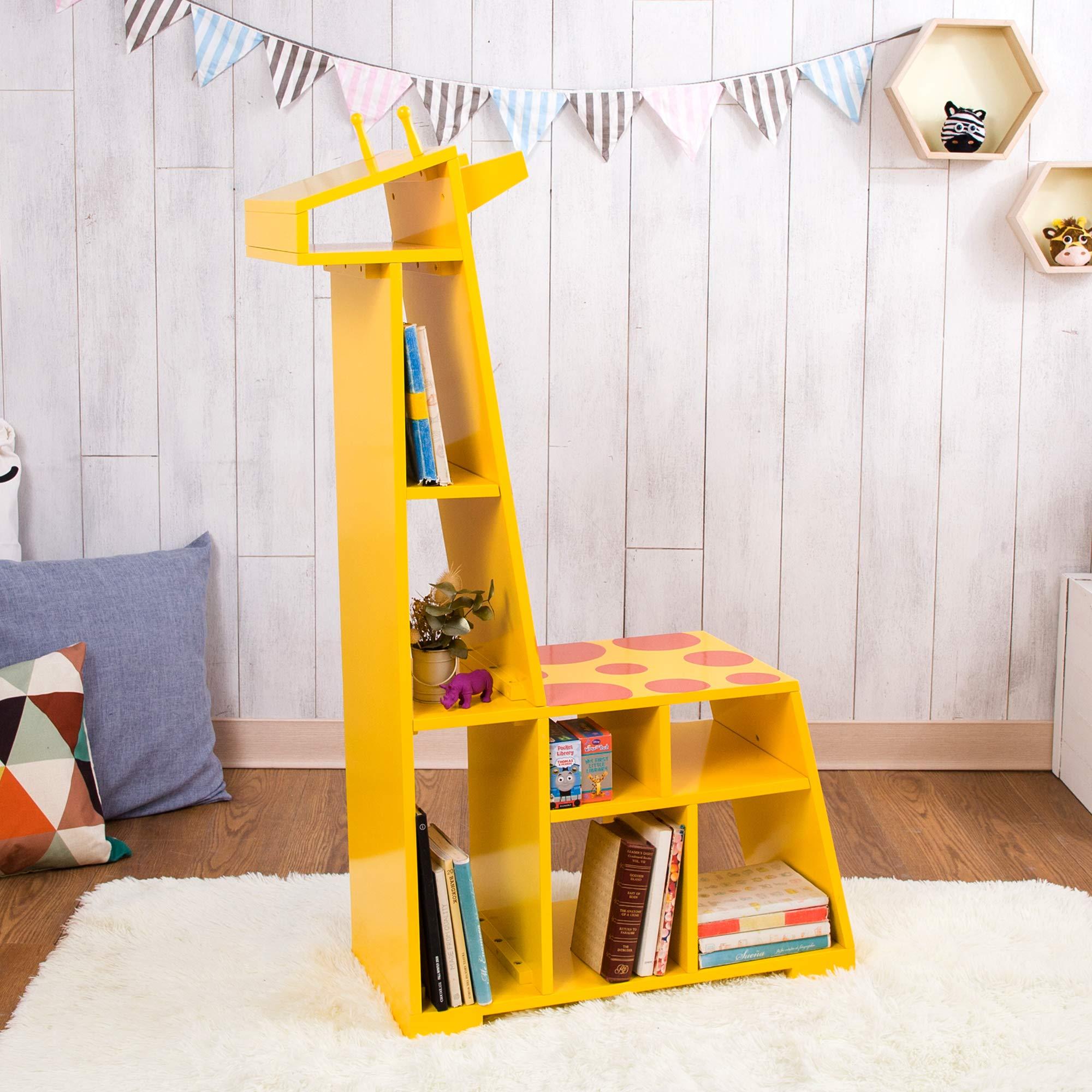 Teamson Kids - Zoo Kingdom Giraffe Bookshelf, Kids Storage - Yellow/Orange