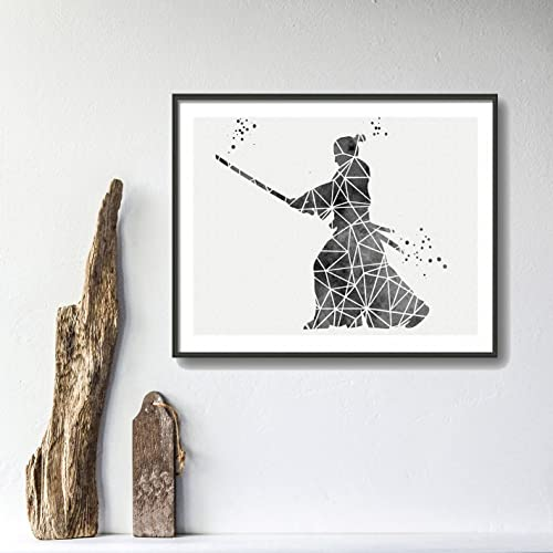 Amazoncom Samurai Geometric Watercolor Posters Japanese Art