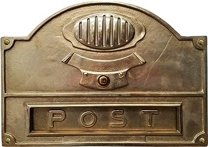 Frontle da incasso in ottone lucido con la scritta Post citofono non incluso completo di campanello e griglia copri citofono