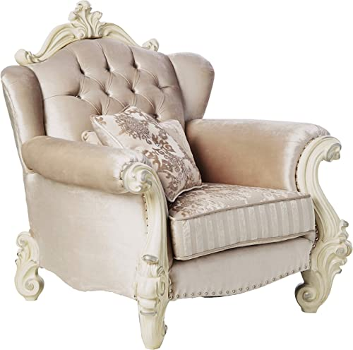 ACME Versailles Ivory Velvet Chair with 2 Pillows