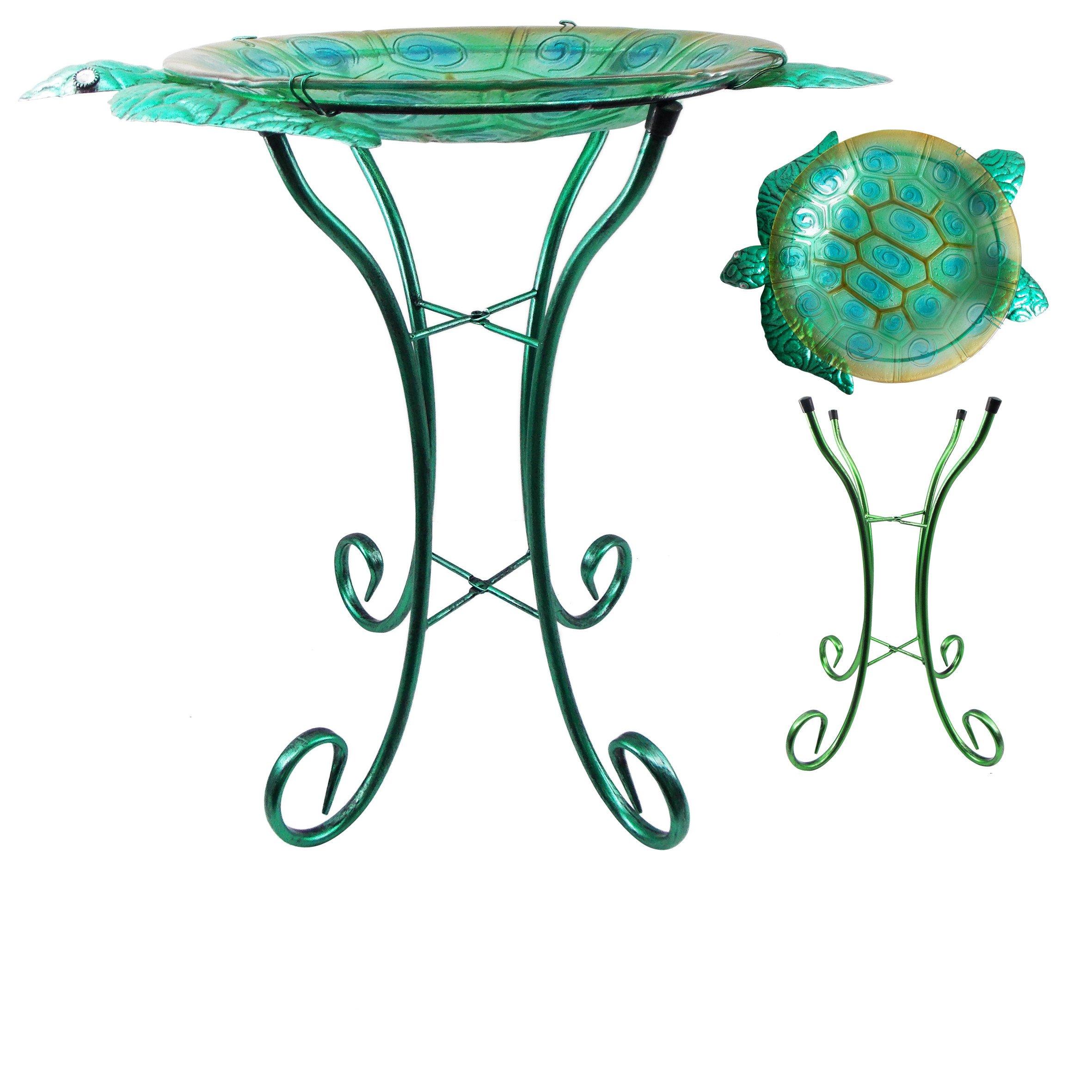 Comfy Hour 22'' Green Metal Art Turtle Top Birdbath Garden Decor