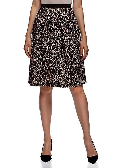 oodji Collection Mujer Falda de Encaje con Cinturón Elástico ...