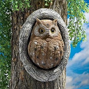 Knothole Owl Tree Sculpture Owl Garden Statue Resin Owl Figurine Garden Lawn Ornaments Garden Yard Art Outdoor Whimsical Tree Sculpture Garden Decoration