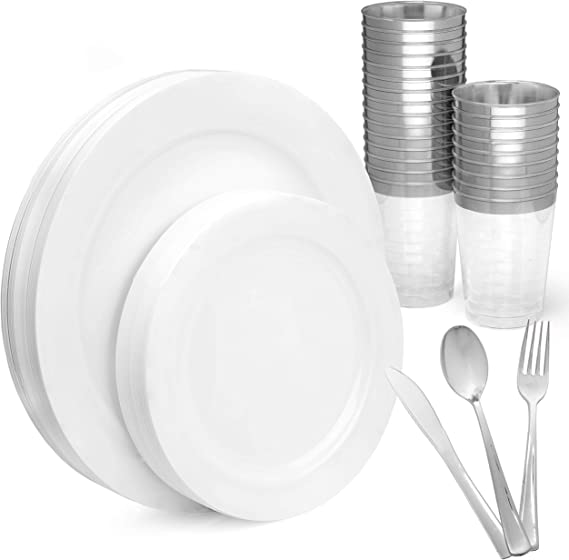 White Disposable Plastic Plates with Silver Cups, Spoons, Forks & Knives, Elegant 150 Piece Dinnerware Set For Wedding or Party