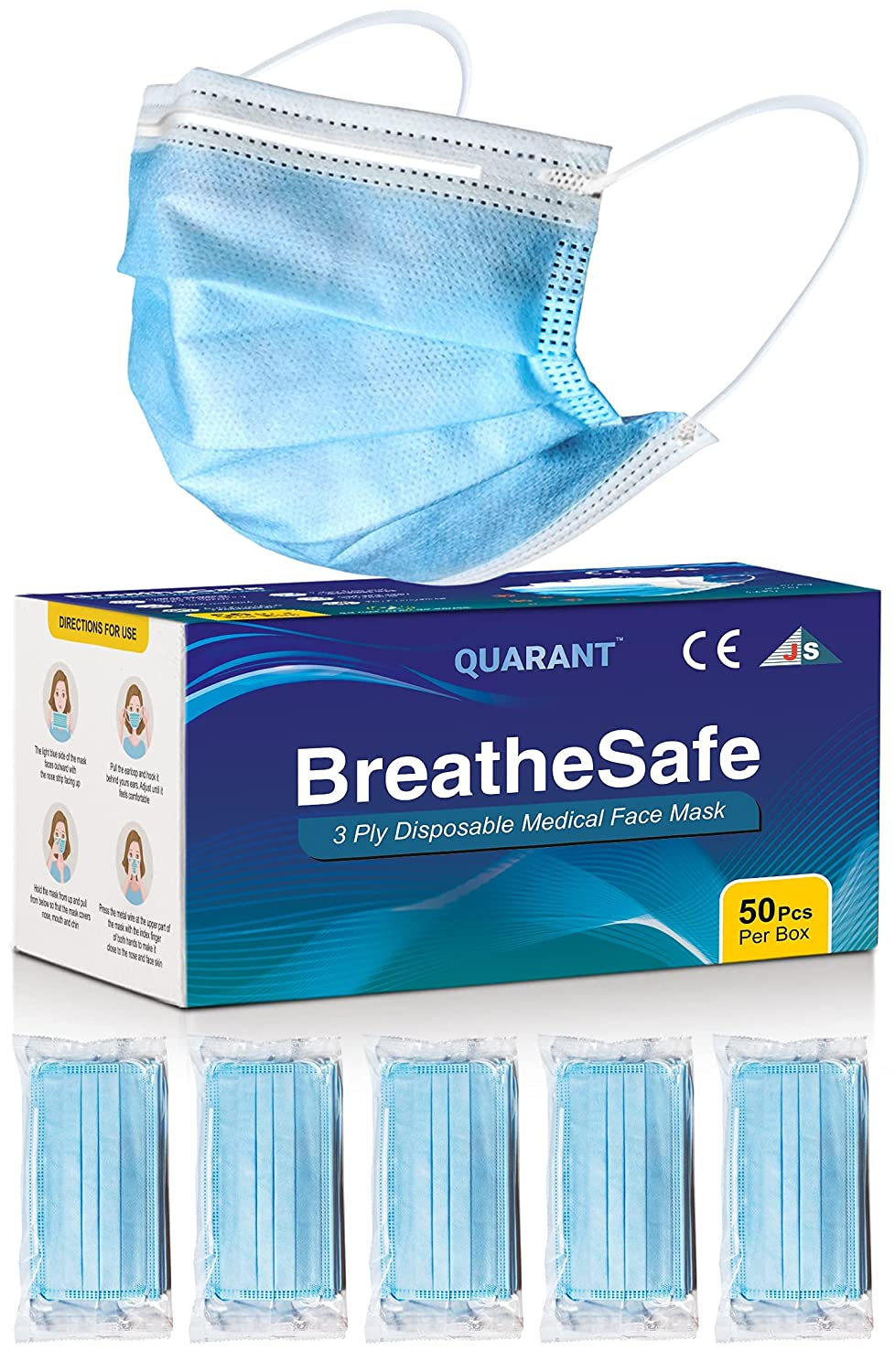 QUARANT BreatheSafe 3 Ply Surgical Face Mask, , MeltBlown Fabric