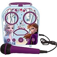 LEXIBOOK- Disney Frozen 2, Anna & Elsa-Karaoke Micro Star inalámbrico, con Bluetooth, micrófono, Toma Auxiliar, Puerto USB, Alta, Color Morado, Talla Única