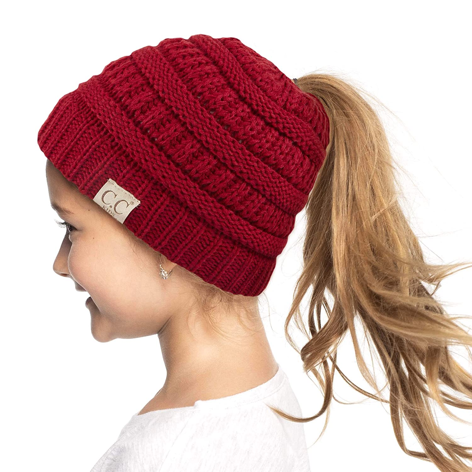 C.C Exclusives Kids Beanie Ages 2-7 Warm Chunky Thick Stretchy Knit Beanie Tail Hat for Kids Skull Hat C.C® KIDS MESSY BUN