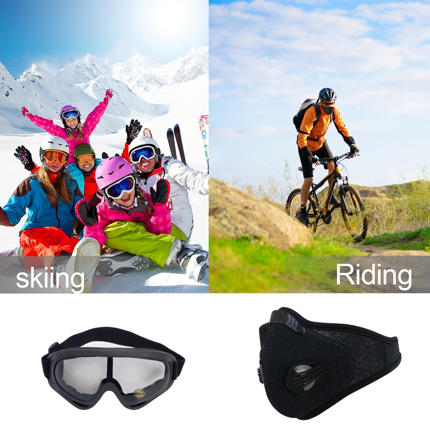 Activated Carbon Dust Mask Motorcycling Goggle Pack of 2 Dustproof Face  Mask Filtration Exhaust Gas Anti Pollen Allergy PM2 5 Dust Mask Filter Ski
