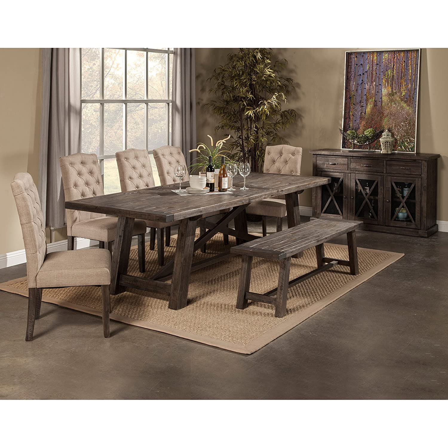 Rustic wood dining table w 4 upholstered chair 84 in l - Rustic Wood Dining Table W 4 Upholstered Chair 84 In L 48