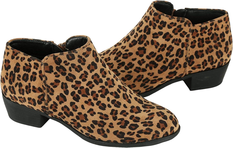 Syktkmx Womens Chunky Block Heel Ankle Boots Round Toe Flat Low Heel Side Zip Western Booties