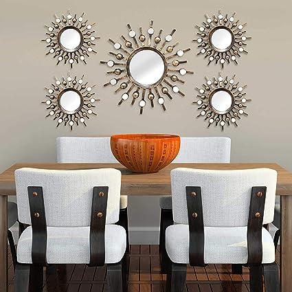 Stratton Home Decor Burst Bronze Wall Mirrors Set of 5