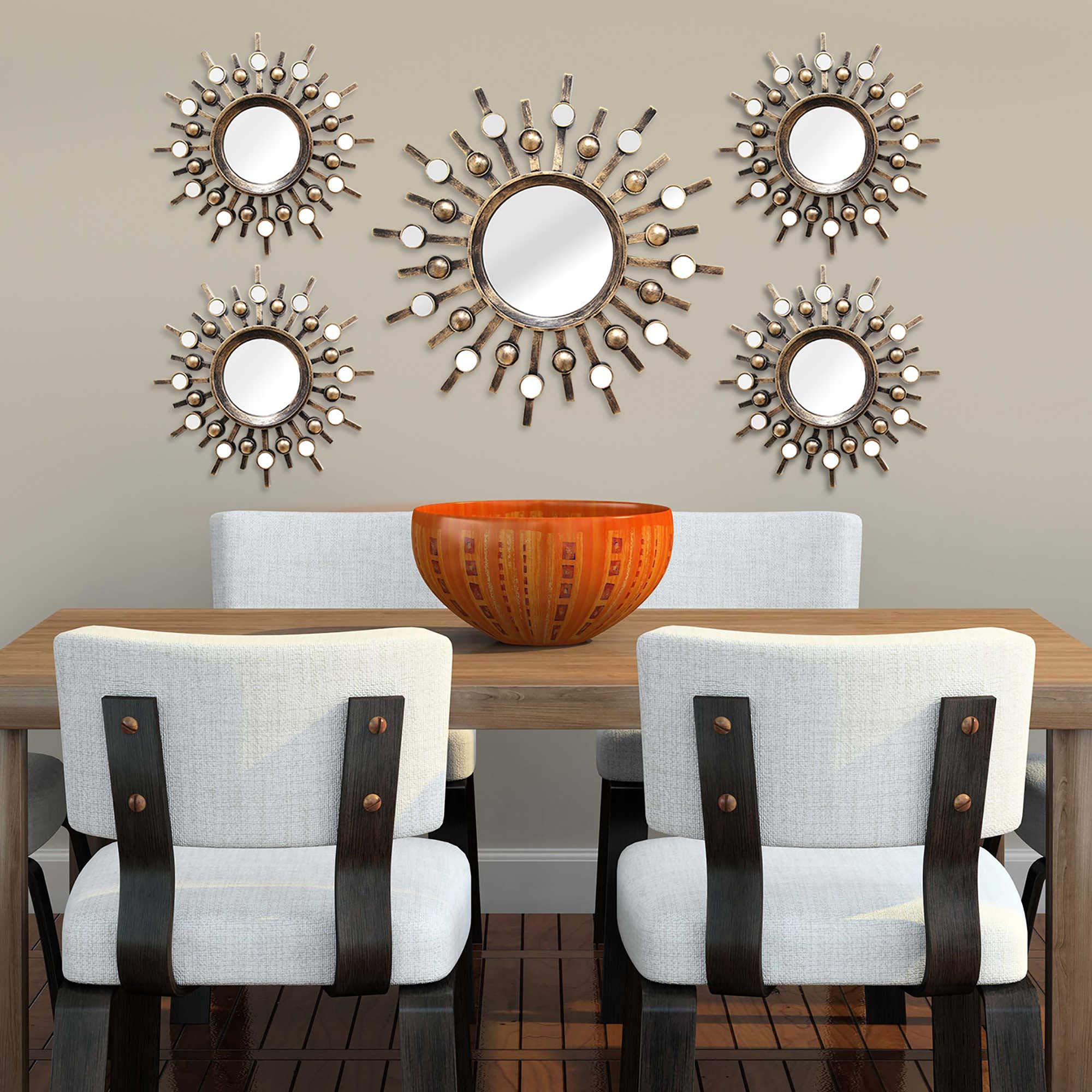Stratton Home Decor Burst Bronze Wall Mirrors Set of 5, SHD0087