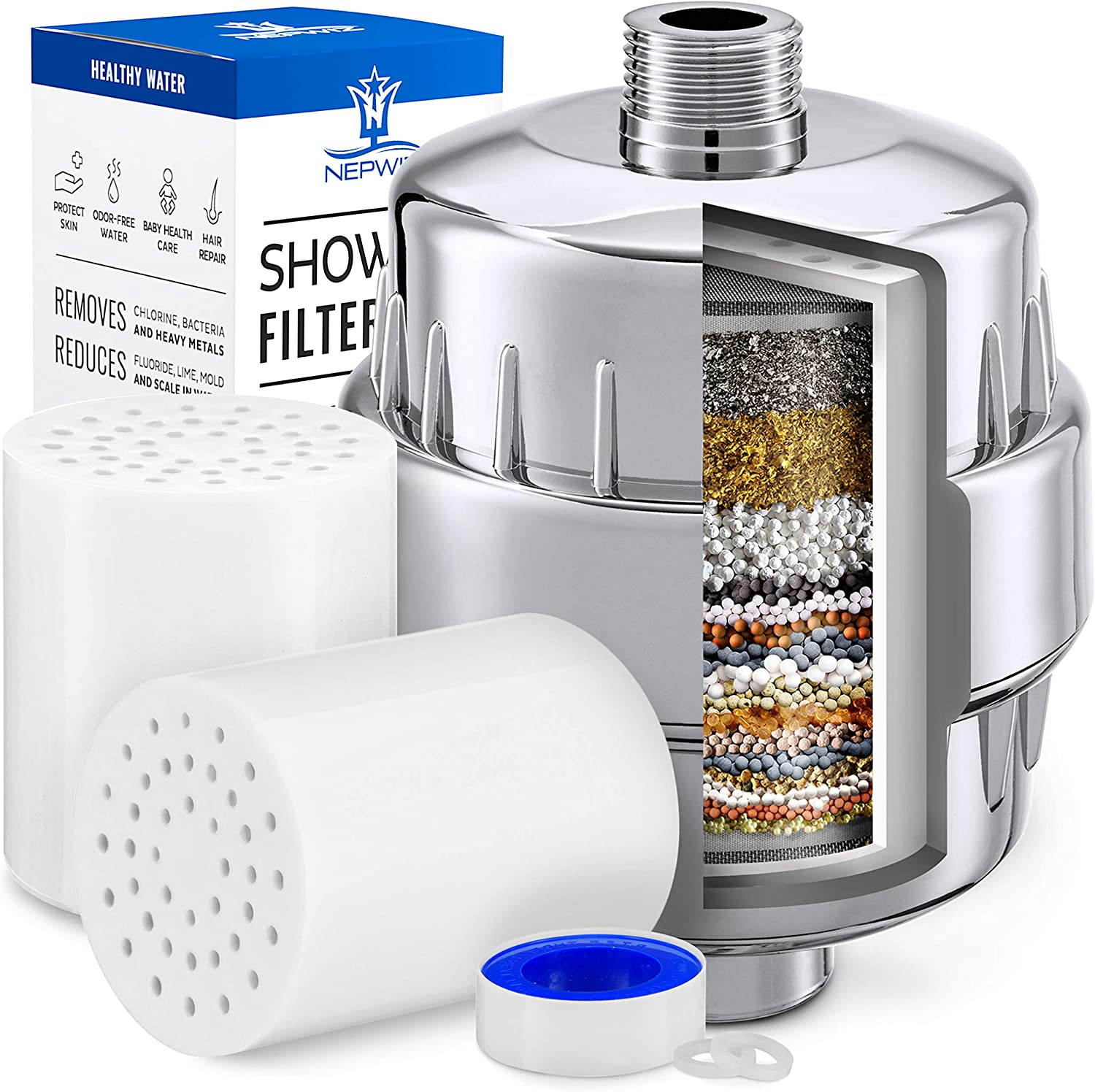 Shower Head Filter Removes Chlorine Fluoride and Improves The Condition of Your Skin BathBeyond Shower Filter Vitamin C 15 Stage High Output Water Filter With cartridge for Hard Water Hair