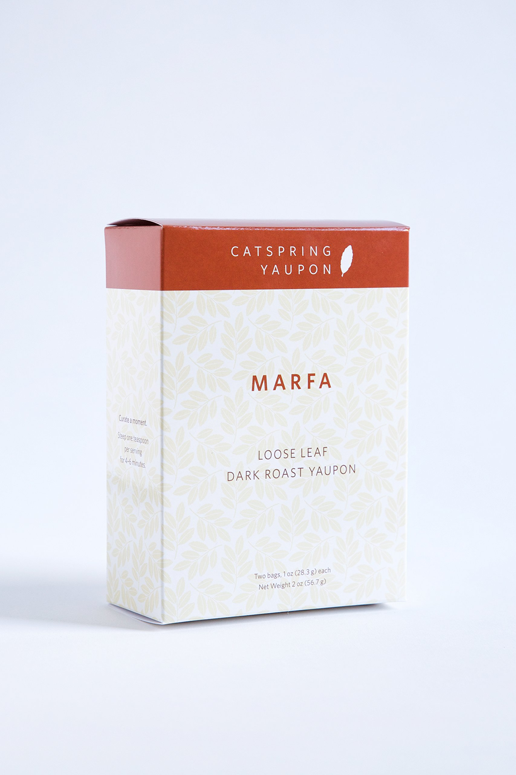 CatSpring Yaupon - Marfa Dark Roast Black Yaupon Tea - Loose Leaf - Naturally Caffeinated, Herbal and Sustainable - Dark Roast Yaupon Grown, Harvest and Made in the USA {2 oz.}