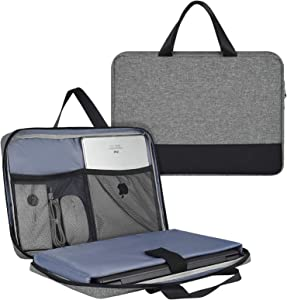 11.6 13 Inch Laptop Bag, Waterproof Men Women Laptop TSA Briefcase with Organizer for Dell XPS 13 7390, Lenovo Chromebook C330, MacBook Air 13 A2337, Surface ASUS HP Acer Chromebook Case, Gray