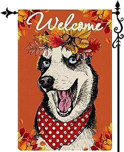 Coskaka Welcome Husky Dog Garden Flag,Maple Leaf Vertical Double Sided Buffalo Check Plaid Rustic Farmland Burlap Yard Lawn Outdoor Decor 12.5x18 Inch