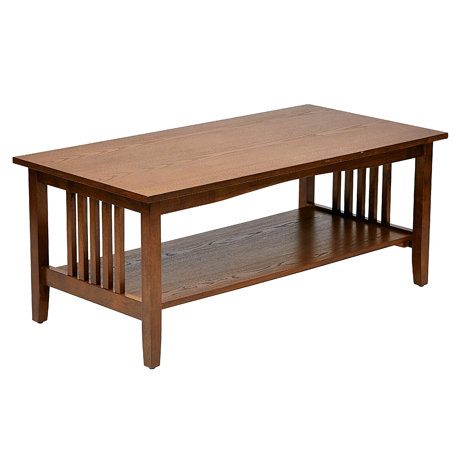 Amazon.com: Sierra Mission Medium Oak Finish Traditional Coffee Table Wood  Style Rectangle Brown: Kitchen U0026 Dining