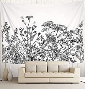 """Wekymuu Black and White Floral Tapestry Plant Wall Tapestry Wild Flower Tapestry Vintage Herbs Tapestry Nature Scenery Tapestry Wall Hanging for Room Bedroom Dorm Home Decor(51.2""""x 59.1"""")"""