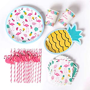 Pink Flamingo Party Supplies | 16 Flamingo Plates, Pineapple Plates, Napkins, and Flamingo Straws | Flamingo Bachelorette Party Decorations Kit | Final Flamingle Bachelorette Decorations