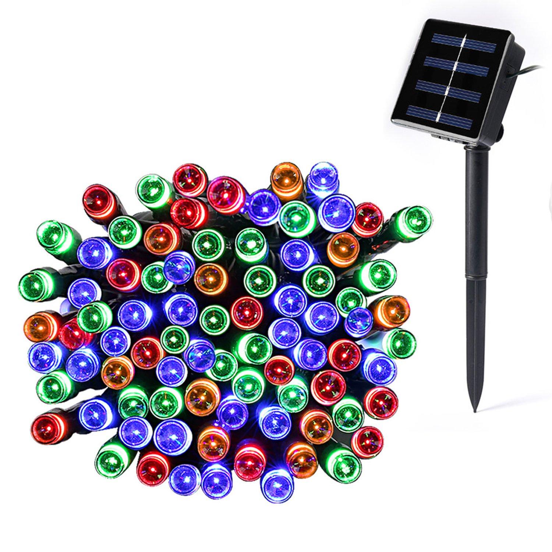 Catuo - Guirnalda de luces solares (100 LEDs, 10 metros, impermeable, 1,2 V, portátil, con sensor de luz, para jardín, hogar, boda, fiesta, Navidad, Halloween, color blanco frío) safecar-uk