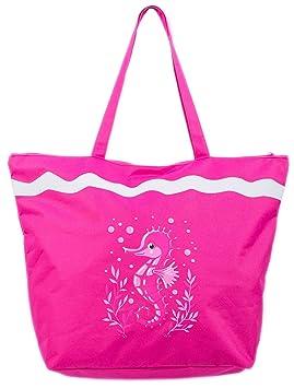 Airee Fairee Bolsa de Playa Bolso de Mano con Patron Caballo de Mar Rosa Oscuro: Amazon.es: Hogar