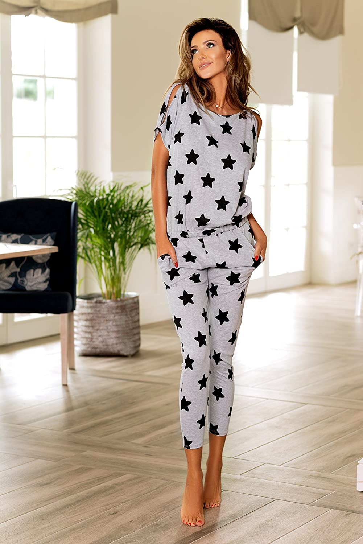 PIGEON Lingerie charmanter Baumwoll-Pyjama Hausanzug aus gem/ütlichem Oberteil und langer Hose