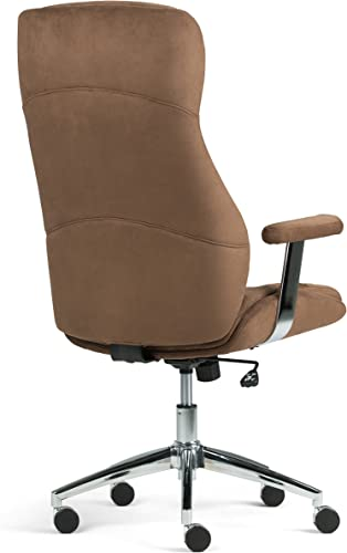 Simpli Home AXCOCHR-05 Melbourne Swivel Adjustable Executive Computer Office Chair in Chocolate Brown