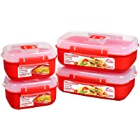 Sistema Heat and Eat microondas juego | 4 recipientes rectangulares con tapas para alimentos (2 de 1,25 l + 2 de 525 ml…