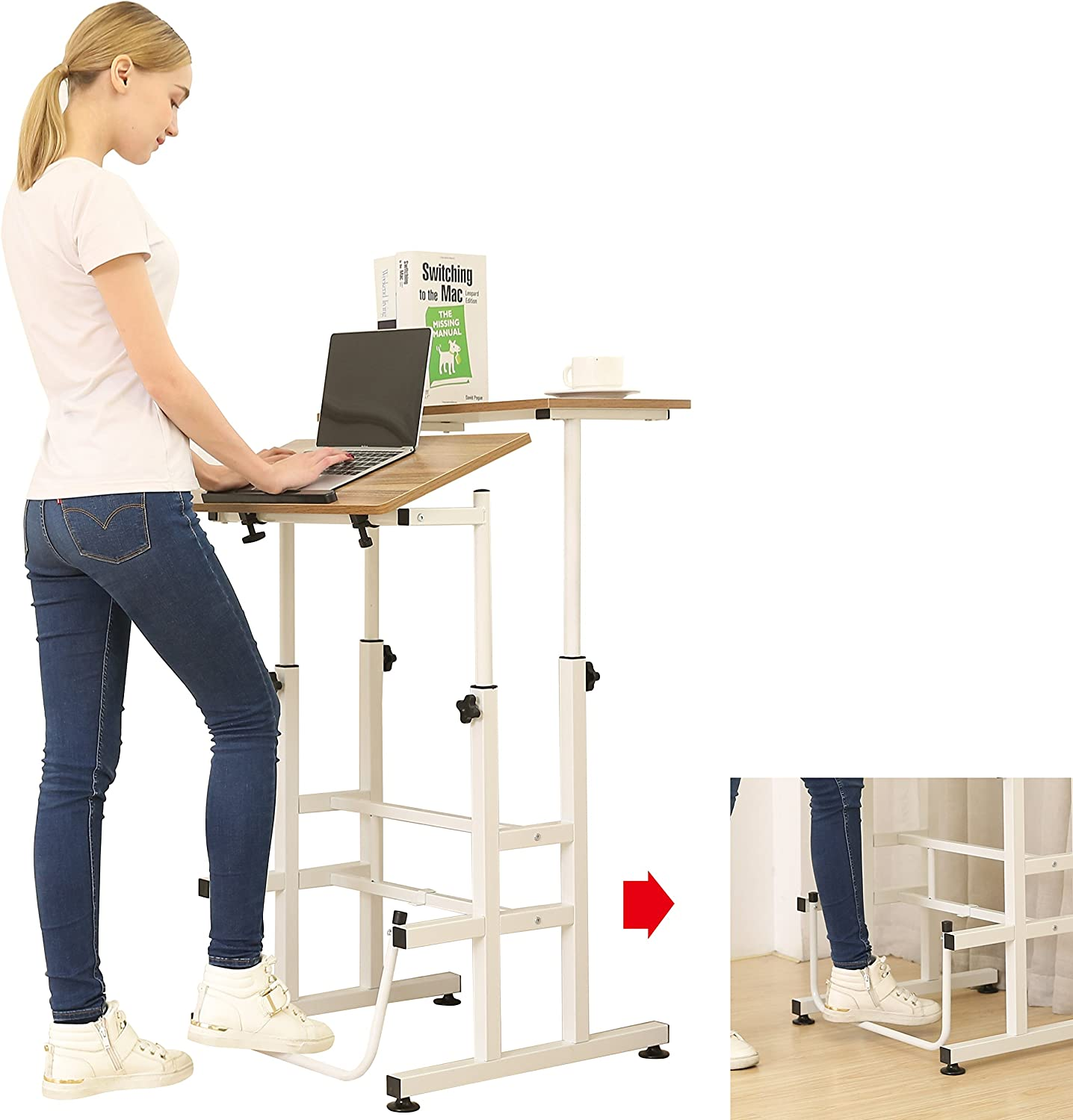 SDADI Adjustable Height Standing Desk with Swinging Footrest Optional for Standing and Seating 2 Modes, Dark Grain L101XWFDT